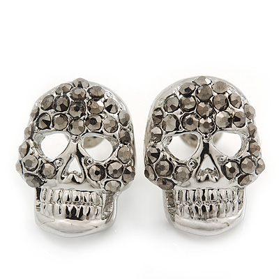 Dim Grey Crystal Skull Stud Earrings In Rhodium Plating - 15mm Length