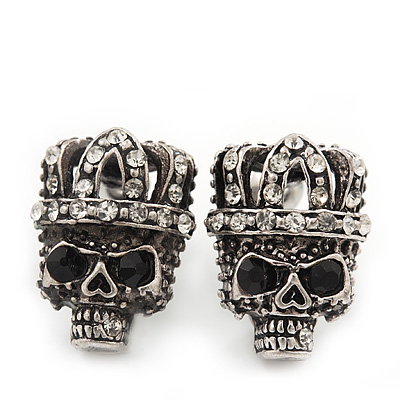 Small Diamante &#039;Skull In The Crown&#039; Stud Earrings In Burn Silver Finish - 17mm Length