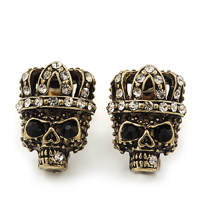 Small Diamante &#039;Skull In The Crown&#039; Stud Earrings In Burn Gold Finish - 17mm Length