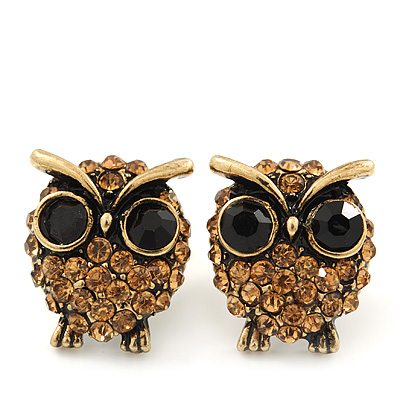 Small Citrine Diamante 'Owl' Stud Earrings In Antique Gold Metal - 15mm Length