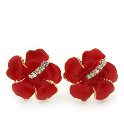 Hot Red Enamel Diamante 'Daisy' Stud Earrings In Gold Plating - 2cm Diameter