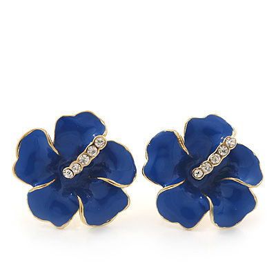 Royal Blue Enamel Diamante 'Daisy' Stud Earrings In Gold Plating - 2cm Diameter