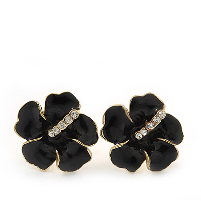 Black Enamel Diamante 'Daisy' Stud Earrings In Gold Plating - 2cm Diameter