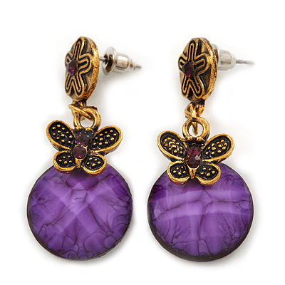 Delicate Violet Acrylic Bead Butterfly Drop Earrings In Antique Gold Metal - 4cm Length