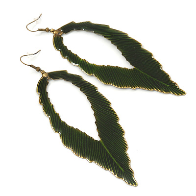 'Eve's Leaf' Dark Green Enamel Drop Earrings In Burn Gold Metal - 12cm Length
