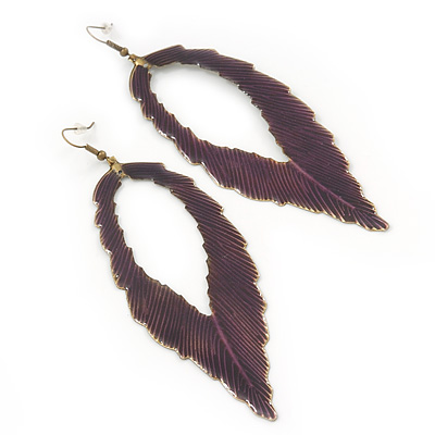 'Eve's Leaf' Dark Purple Enamel Drop Earrings In Burn Gold - 12cm Length