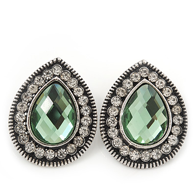 Burn Silver Light Green Jewelled Teardrop Stud Earrings - 3cm Length