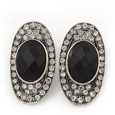 Burn Silver Black Jewelled Oval Stud Earrings - 3.5cm Length - main view