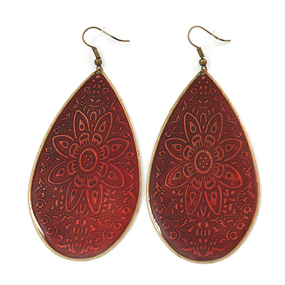 Long Dark Red Enamel Teardrop Earrings In Bronze Metal - 9.5cm Length - main view