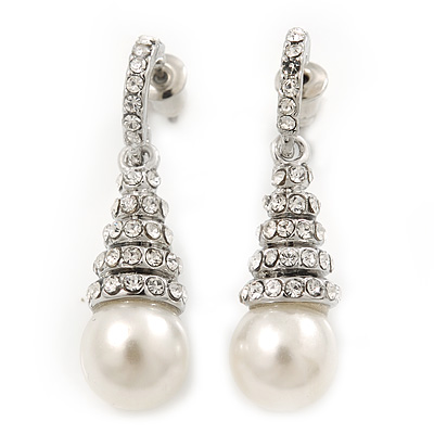 Bridal Clear Crystal Faux Pearl Drop Earrings In Silver Plating - 3.5cm Length