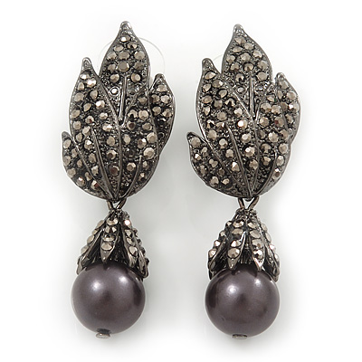 Swarovski Crystal 'Leaf' Dark Grey Simulated Pearl Drop Earrings In Gun Metal Finish - 5.5cm Length - main view