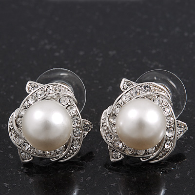 Classic Diamante Faux Pearl Stud Earrings In Rhodium Plating - 18mm Diameter