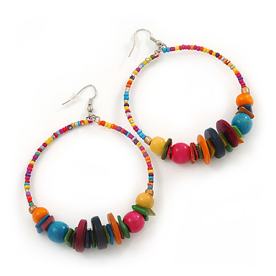 Large Multicoloured Glass &amp; Wood Bead Hoop Earrings In Silver Plating - 8.5cm Length