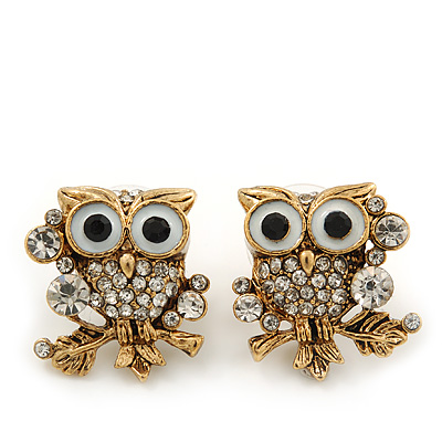 &#039;Wise Owl&#039; Swarovski Crystal Paved Stud Earrings (Gold Plated) - 2cm Length