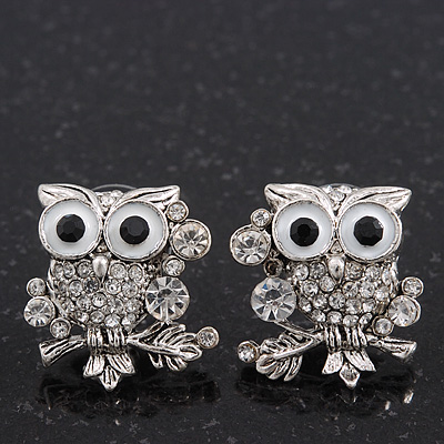 &#039;Wise Owl&#039; Swarovski Crystal Paved Stud Earrings (Silver Plated) - 2cm Length