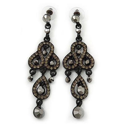 Grey Swarovski Crystal &#039;Lita&#039; Chandelier Earrings (Black Enameled Metalwork) - 8cm Length