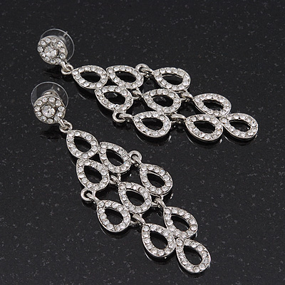 Rhodium Plated Clear Crystal &#039;Lacey&#039; Chandelier Earrings - 8mm Length