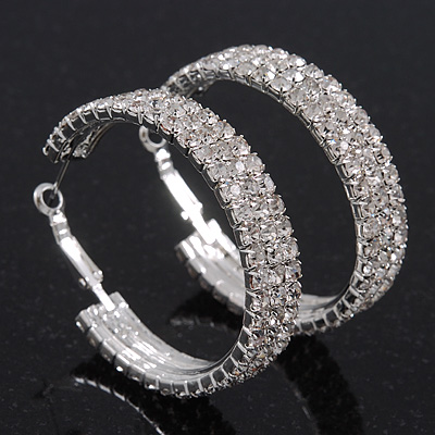 Rhodium Plated Clear Three-Row Swarovski Crystal Hoops - Medium (4.5cm Diameter)