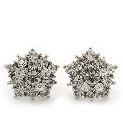 Clear Crystal &#039;Star&#039; Stud Earrings In Rhodium Plating - 15mm Diameter