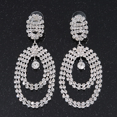 Large Clear Crystal Oval Hoop Earrings In Rhodium Plating - 8cm Length