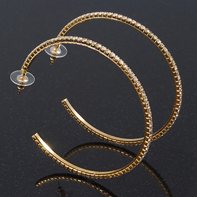 Large Slim Swarovski Crystal Hoop Earrings In Gold Plating - 7cm Diameter
