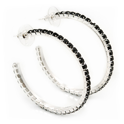 Jet Black Crystal Hoop Earrings In Rhodium Plating - 5cm Diameter - main view