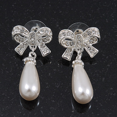 Classic Diamante Pearl Style 'Bow' Drop Earrings In Silver Plating - 4cm Length