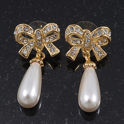 Classic Diamante Pearl Style 'Bow' Drop Earrings In Gold Plating - 4cm Length