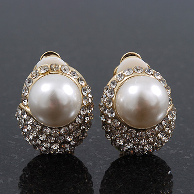 Gold Plated Swarovski Crystal Pearl Clip On Earrings - 18mm Length