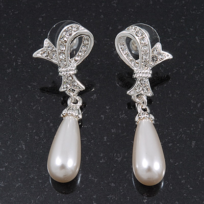 Clear Diamante Pearl Modern 'Bow' Drop Earrings In Rhodium Plating - 4.5cm Length