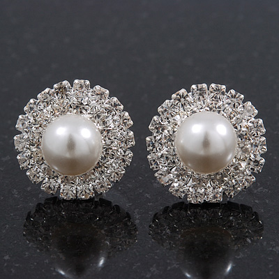 Round Classic Diamante Pearl Stud Earrings In Rhodium Plating - 15mm Diameter