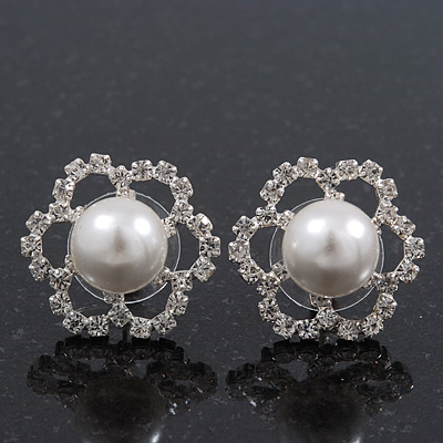 Clear Diamante Pearl 'Flower' Stud Earrings In Rhodium Plating - 2cm Diameter