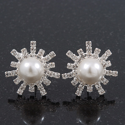 Clear Diamante Pearl 'Star' Stud Earrings In Rhodium Plating - 2cm Diameter