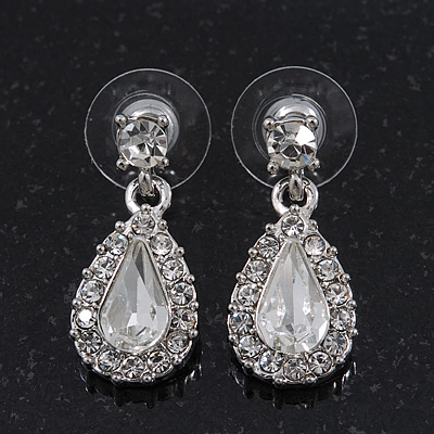 Small Clear Crystal Teardrop Earrings In Rhodium Plating - 2.5cm Length