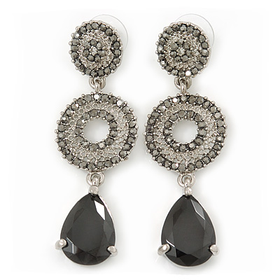 Grey Swarovski Crystal and CZ Teardrop Chandelier Earrings In Silver Plating - 60mm Length