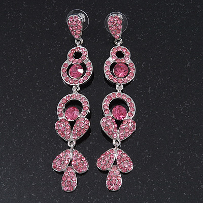 Long Luxury Pink Swarovski Crystal Drop Earrings In Rhodium Plating - Length 9cm