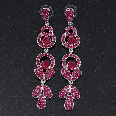 Long Luxury Magenta Swarovski Crystal Drop Earrings In Rhodium Plating - Length 9cm