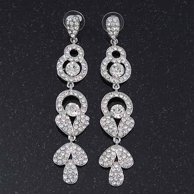 Long Luxury Clear Swarovski Crystal Drop Earrings In Rhodium Plating - Length 9cm