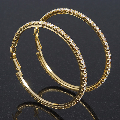 Clear Swarovski Crystal &#039;Hoop&#039; Earrings In Gold Plating - 6cm Diameter
