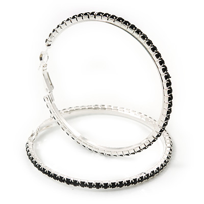Jet Black Austrian Crystal 'Hoop' Earrings In Rhodium Plating - 6cm D - main view