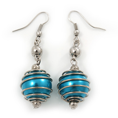 Silver Tone Teal Blue Faux Pearl Drop Earrings - 5.5cm Drop