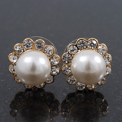 Small Classic Diamante Glass Pearl Stud Earrings In Gold Plating - 12mm Diameter