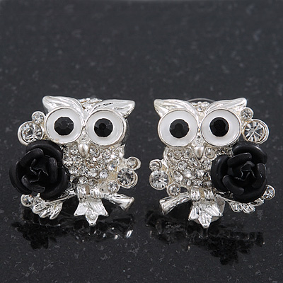 &#039;Wise Owl With Rose&#039; Swarovski Crystal Paved Stud Earrings In Rhodium Plating - 2cm Length