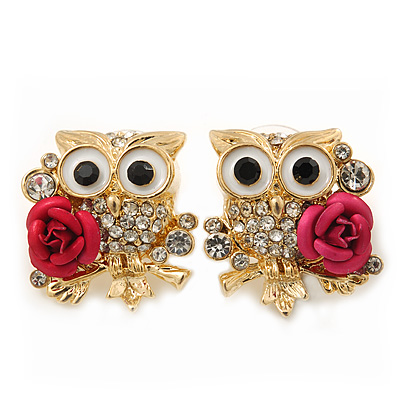 'Wise Owl With Rose' Crystal Paved Stud Earrings In Gold Plating - 2cm Length