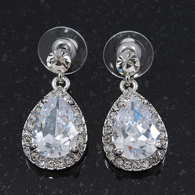 Bridal Clear Glass Swarovski Crystal Teardrop Earrings In Rhodium Plating - 27mm Length