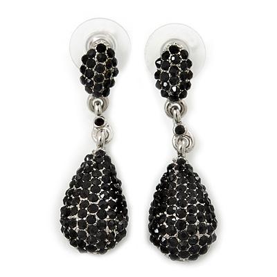 Jet Black Pave Set Swarovski Crystal Teardrop Earrings In Rhodium Plating - 4cm Length - main view