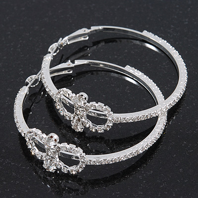 Rhodium Plated Clear Crystal 'Infinity' Hoop Earrings - 5cm Diameter