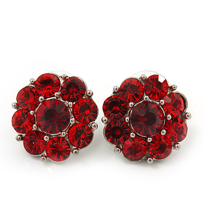 Ruby Red Crystal 'Flower' Stud Earrings In Rhodium Plating - 18mm Diameter