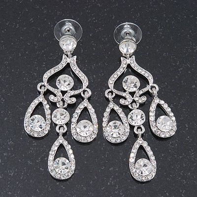 Bridal Clear Crystal Chandelier Earrings In Rhodium Plating - 6cm Length