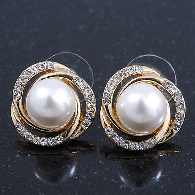 Classic Diamante, Pearl Stud Earring In Gold Plating - 17mm Diameter